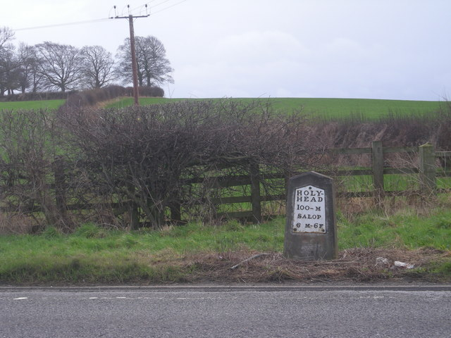 Milepost on the Holyhead road (A5)