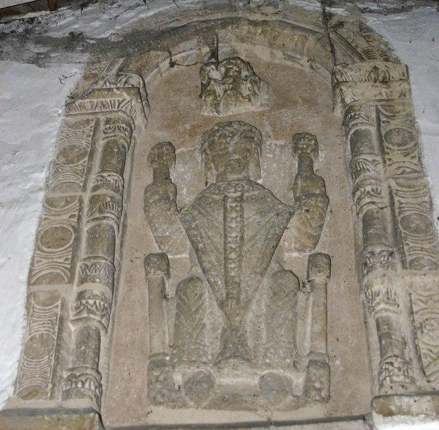 Bas-relief believed to be of St. Peter above doorway