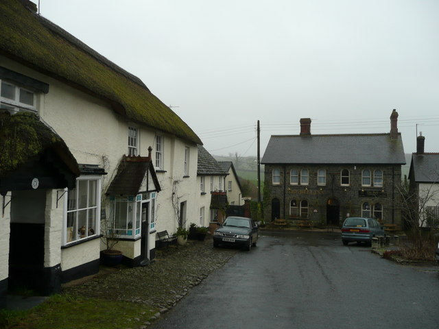 Thatched cottages and the Bell Inn, Chittlehampton
