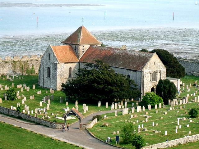 St. Mary's, Portchester in its churchyard