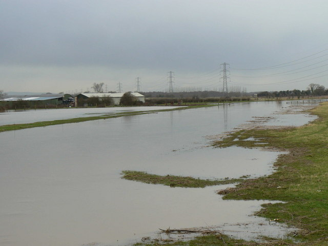 River Brue in flood at Westhay Bridge