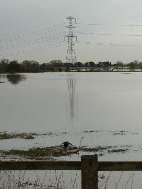 Pylon in flooded fields