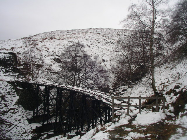 Disused railway in snow