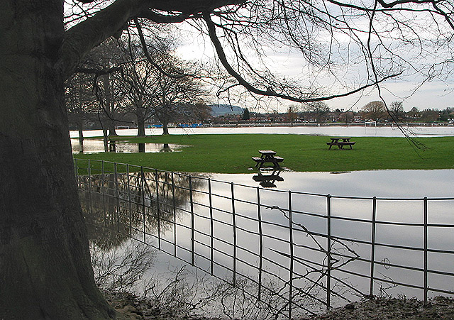 Flooded park and playing fields