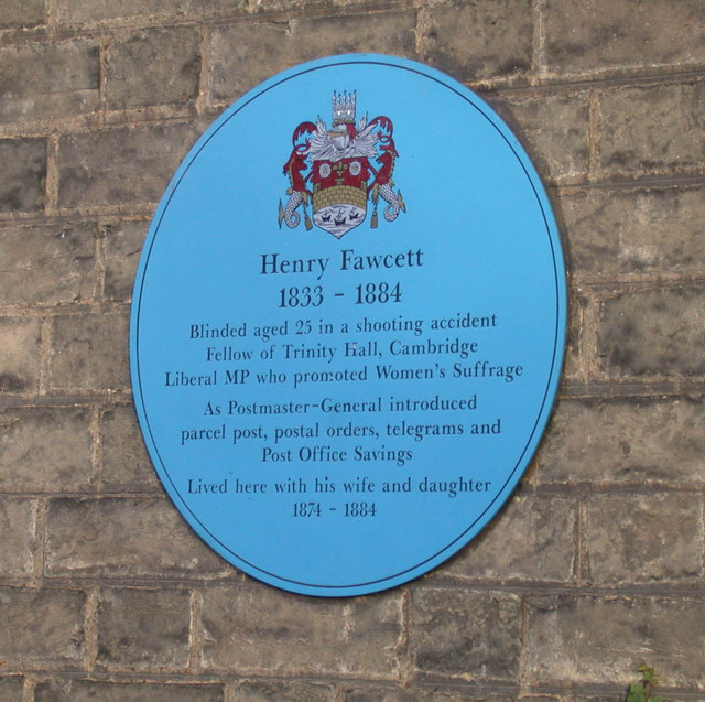 Blue plaque for Henry Fawcett, Brookside
