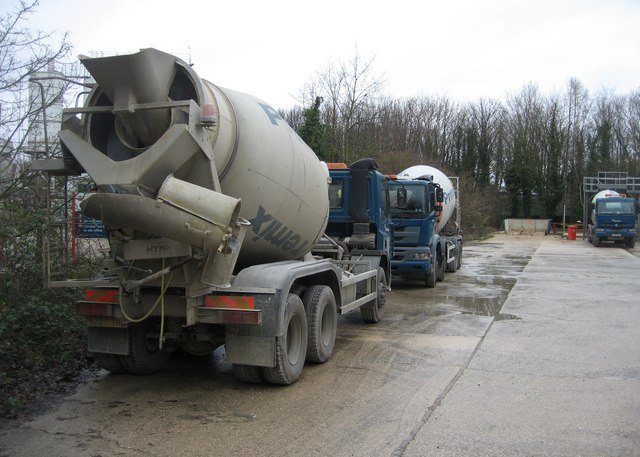 Ready-mix concrete mixers on their day off