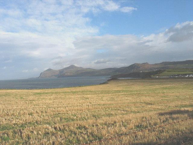 A cliff-top stubble field