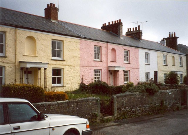 Terrace houses above the harbour, Charlestown, St Austell