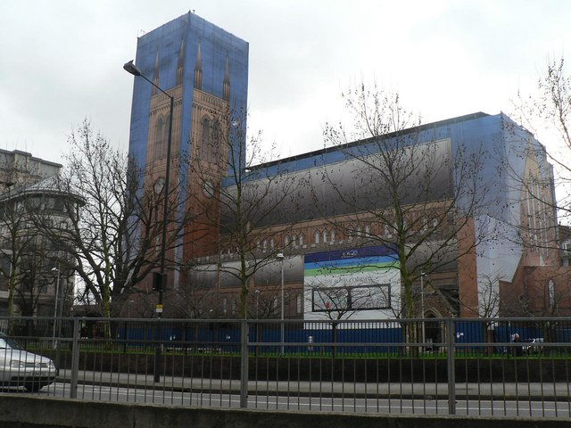 Hammersmith: church-shaped scaffolding