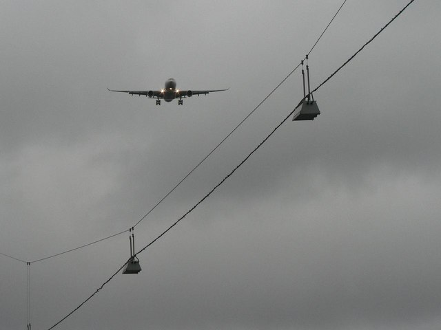 Hounslow: street lights and aeroplane