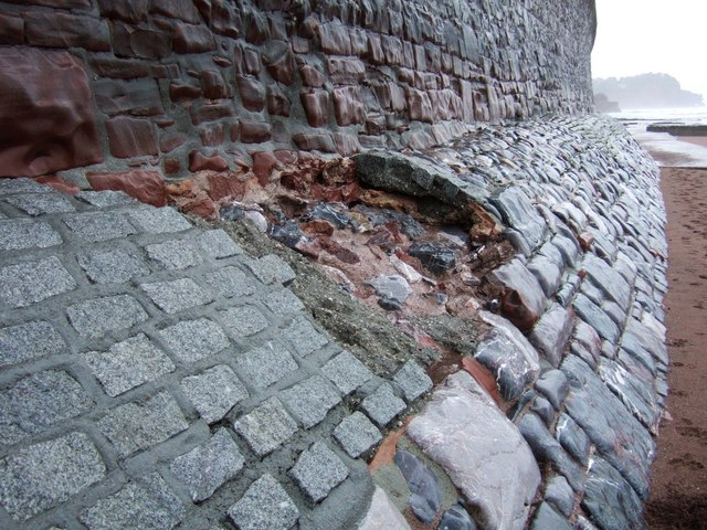 Damage to foot of seawall, Teignmouth