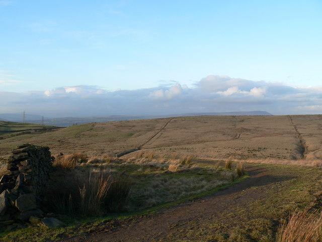 Towards Pendle Hill from above Clowbridge reservoir