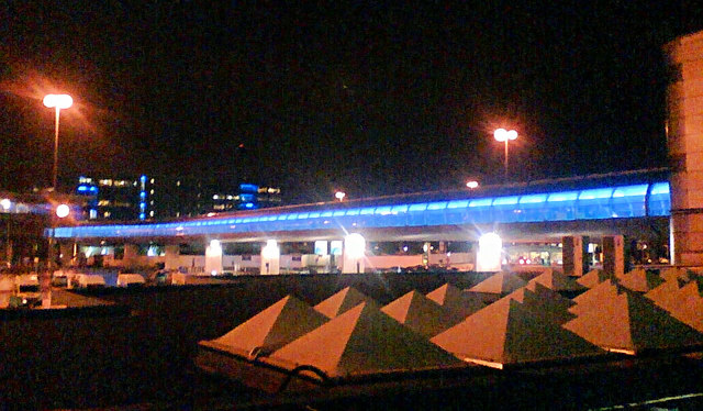 Skyway from terminal to railway station Manchester Airport