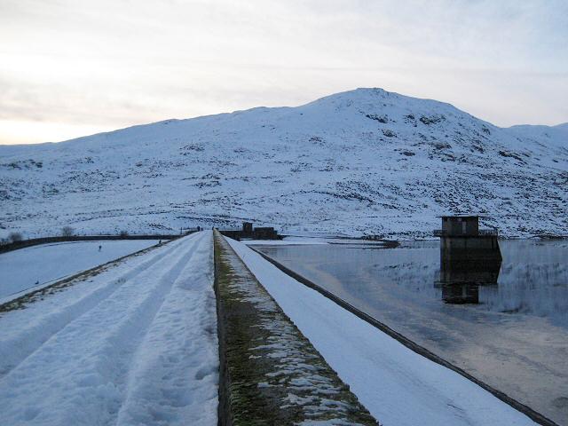 Loch Turret dam, winter evening