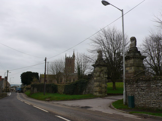 The gates of Stalbridge Park and Stalbridge Church