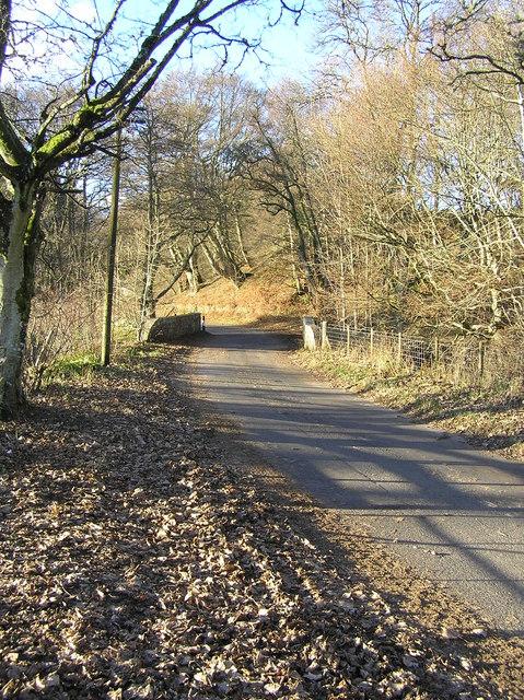 The road at Keltie Bridge over Keltie Burn, the Hosh to Monzie road