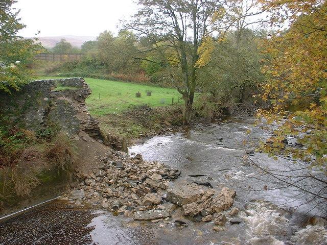 Bridge of Keltie military bridge after its collapse