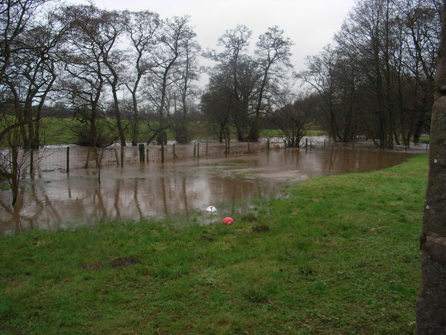 River Petteril  bursting its banks at Troughfoot Farmhouse
