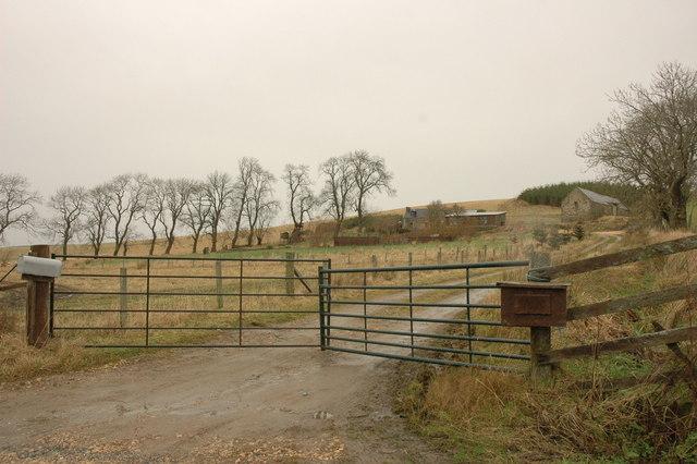 Gated farm road to Shenwall Farm