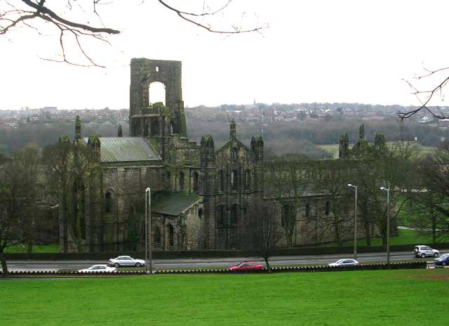 Kirkstall Abbey viewed from Morris Lane