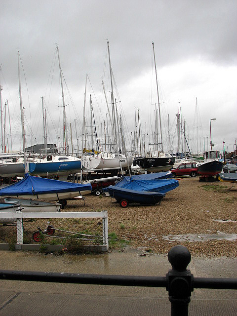Boats on a blustery day at West Mersea