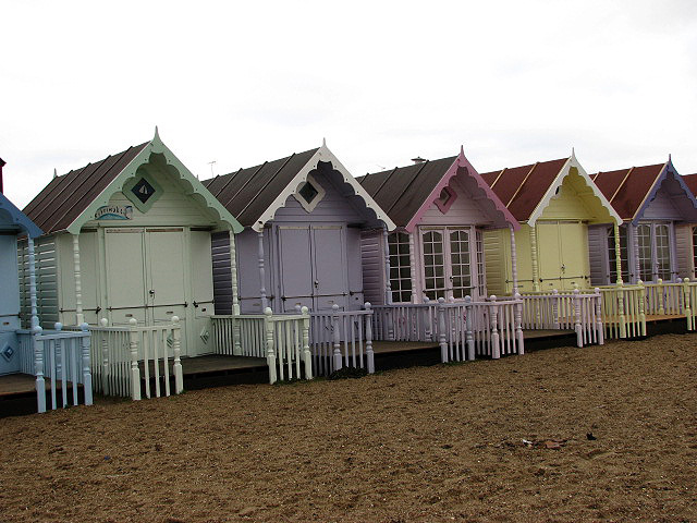 Pastel-coloured beach huts
