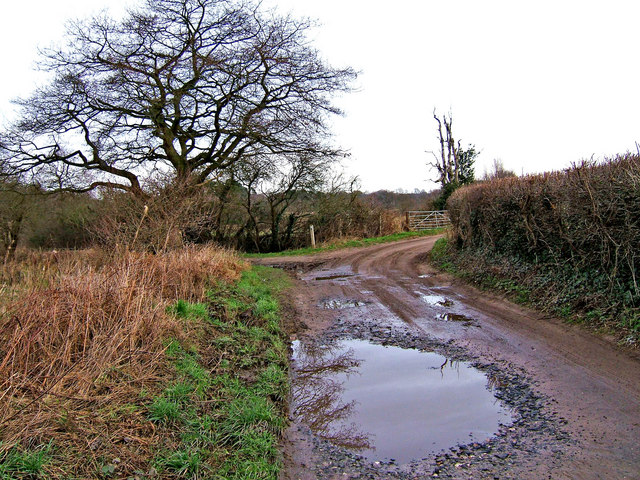 Junction of bridleway with farm road to Droppingwells Farm