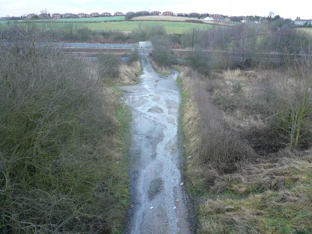 Disused sidings bridge view of Mill Lane towards Grassmoor