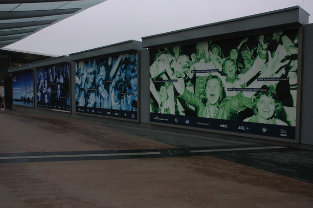 Advertising hoardings promoting the O2 Arena