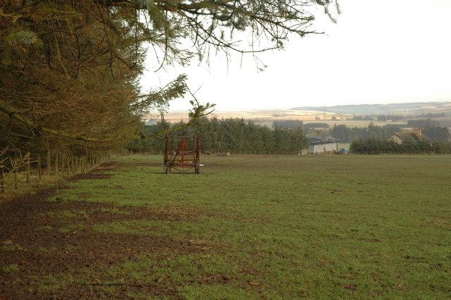 Field with farm machinery