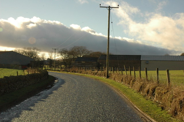 Road at Logie Newton and farm buildings