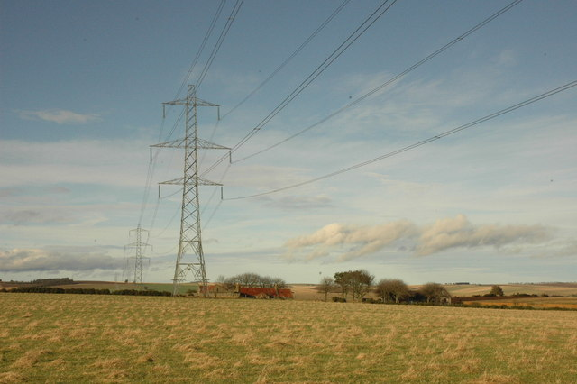 Power lines and croft near Redhill