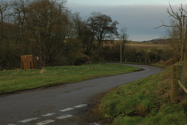 Road junction and bridge over the Burn of Auchininna