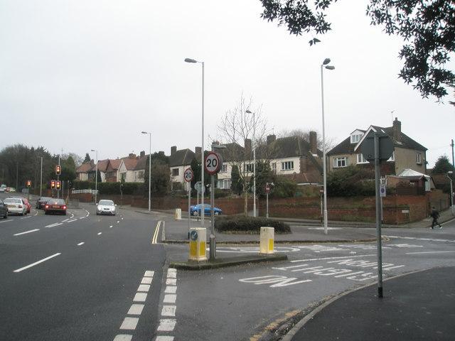 Traffic junction at bottom of Portsdown Hill