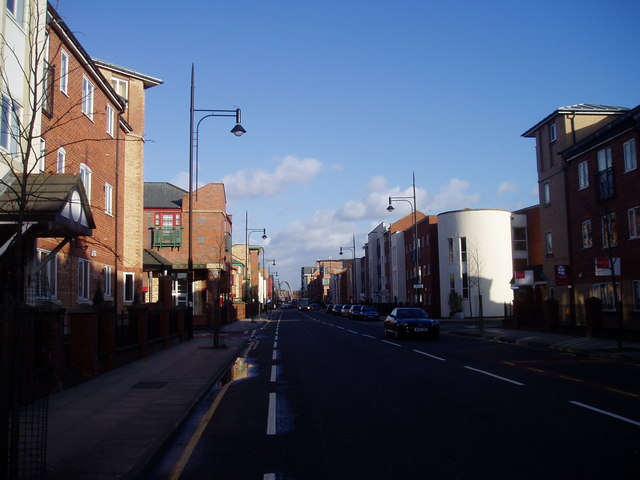 Stretford Road, Hulme, looking east to the Hulme Arch