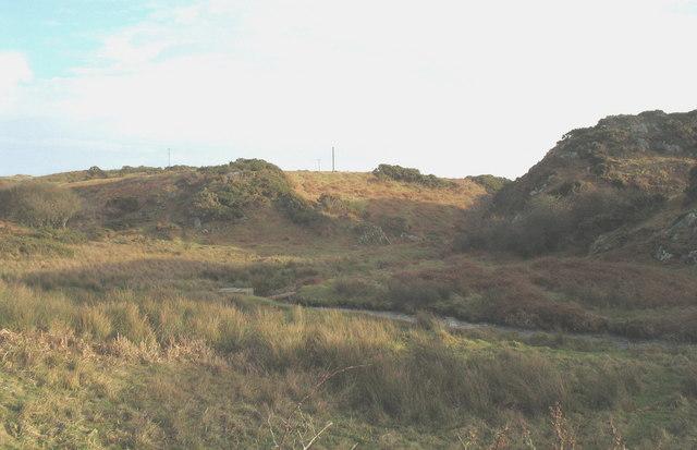 The Afon Geirch valley west of Porth Dinllaen Farm