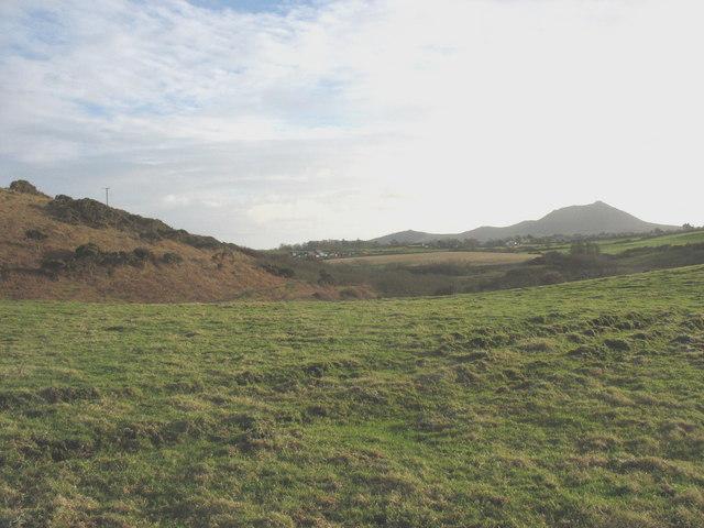 View across farmland towards the hamlet of Groesffordd