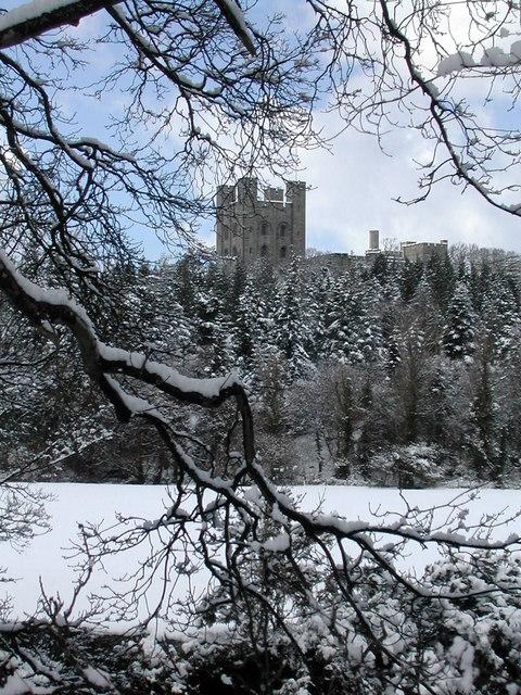 Penrhyn Castle in the snow.
