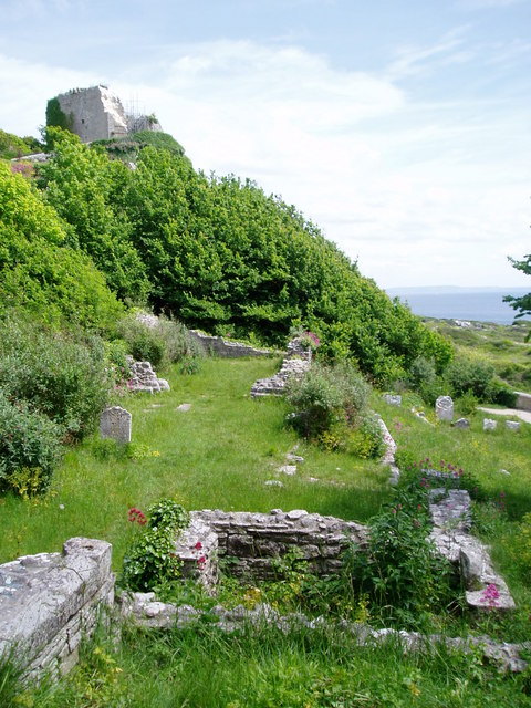 Remains of church below Rufus Castle