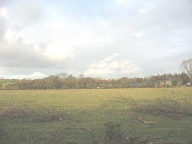 View across farmland in the direction of Bodvel Hall Farm