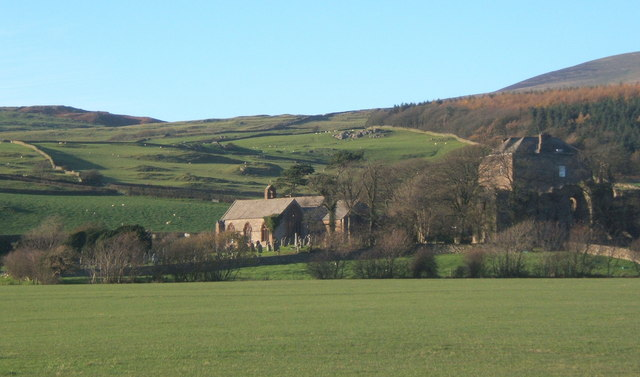 Across the fields to Millom Castle and Holy Trinity church