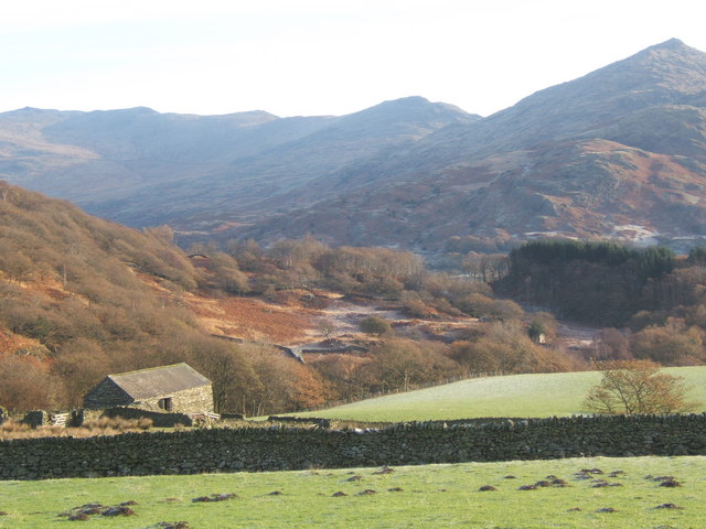 Barn and fields overlooking Duddon Valley