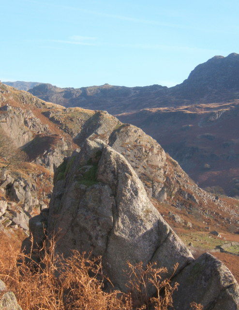 Rocky slopes above Eskdale, reached from the Woolpack Inn.