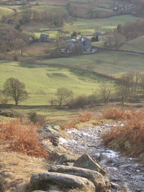 Steep path off Lingmoor Fell, looking down on Little Langdale