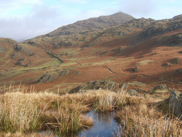 Moorland pool with view of track towards Caw and upper Duddon