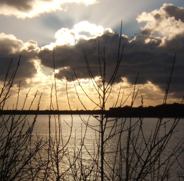 Hodbarrow lagoon and a spectacular sky