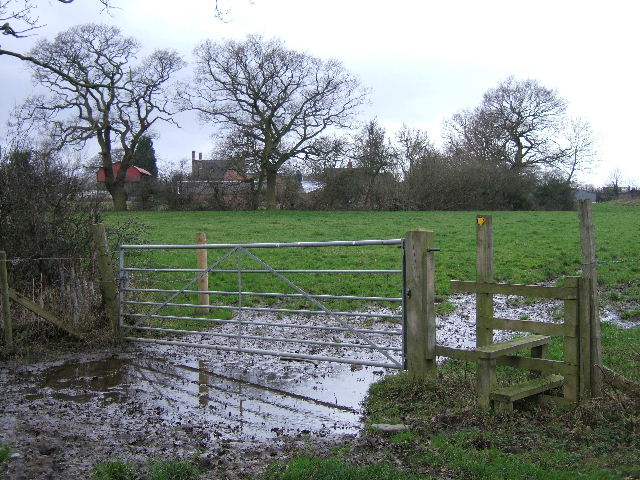 Stile and footpath to Upton Grange Farm