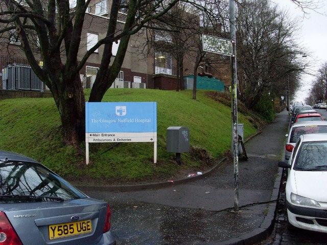 Glasgow Nuffield Hospital, rear entrance