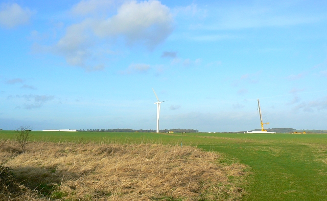 Wind farm under construction, Westmill Farm, Watchfield 25th January 2008