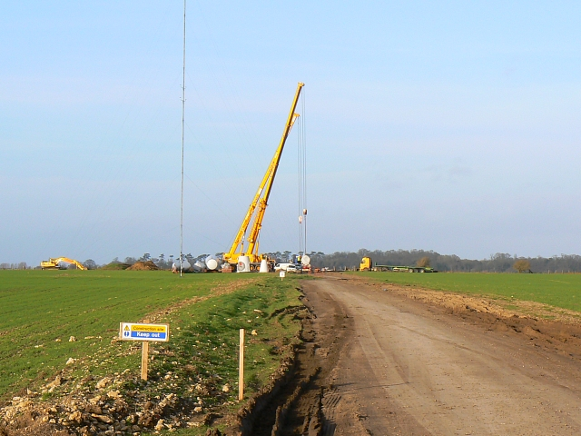Wind farm construction plant, Westmill Farm, Watchfield 25th January 2008